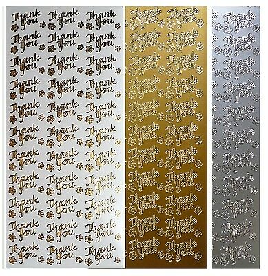 THANK YOU Peel Off Stickers Flowers Wedding Birthday Anniversary Gold or Silver