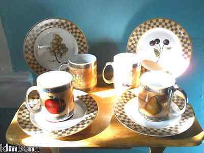 SET OF 4, MUGS & DESSERT PLATES Made By Block Gear Country Orchard, Indonesia