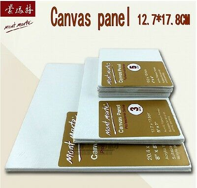 "5"" X 7"" LOT of  6  Blank Art White Canvas Panels Oil Acrylic Painting"