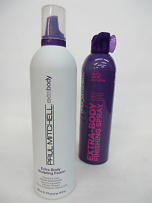 2 PCS PAUL MITCHELL EXTRA BODY FINISHING SPRAY  & SCULPTING FOAM