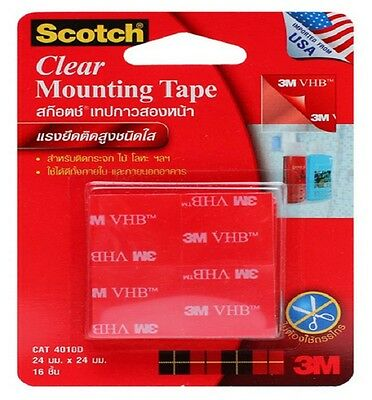 3M Scotch Clear Foam Tape Double Strong Mounting Tape Heavy Duty Sticky 16 pcs.
