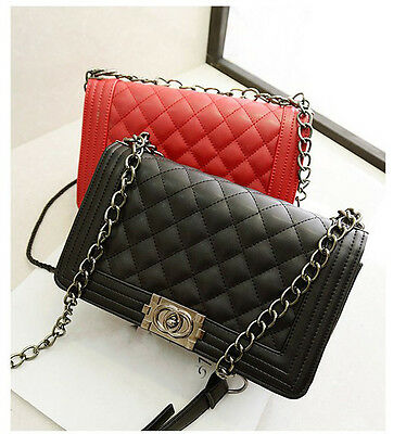 Female Fashion Vintage Geometric Quilted Faux Leather Chain Shoulder Bag Purse