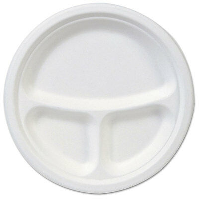 EcoSmart Molded Fiber Dinnerware, 3-Compartment Plate, White,10''Dia, 500/Carton
