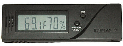 Caliber IV 4 Black Rectangle Adjustable Digital Hygrometer & Thermometer - 1132