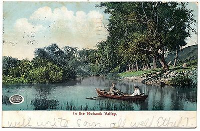 """NEW YORK CENTRAL LINES RAILROAD PROMOTIONAL POSTCARD """"IN THE MOHAWK VALLEY"""" 1906"""