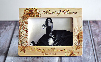Personalized Maid of Honor Picture Photo Frame- Peacock themed wedding- rustic
