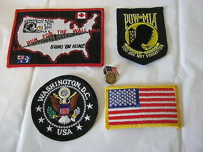 Biker Patches and Pin POW MIA USA Armed Forces Washington D.C. Lot of 5