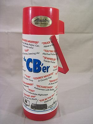 Vintage 1976 THE CB'ER Red Top Plastic Glass Lined Metal Lunchbox Thermos