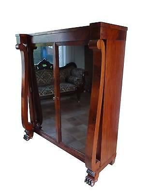 Large Antique Victorian Mahogany Glazed Bookcase Display Cabinet