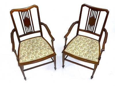 Pair of Attractive Antique Edwardian Mahogany Bedroom Occasional Carver Chairs