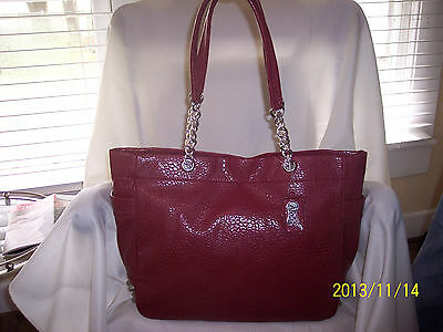 CARLOS SANTANA DARK RED XL FAUX LEATHER SHOULDER BAG SILVER TONE METAL NWT $118