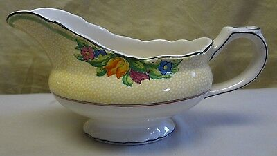 RARE! Antique Booths Silicon China England Floral Handled Gravy Bowl Boat