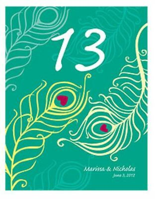 12 Perfect Peacock Personalized Wedding Table Numbers Cards Q17023