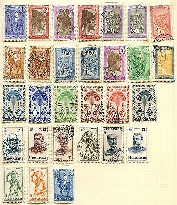 Madagascar Stamp Collection On Loose Album Page (Ref: C88)