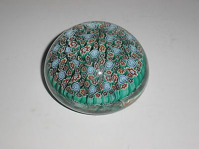 Beautiful Millefiori Heavy Art Glass Paperweight with Floral Flowers Motif NICE!