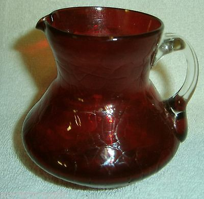Vintage Mid Century Retro Art Glass Crackle Ruby Red with Clear Handle Pitcher