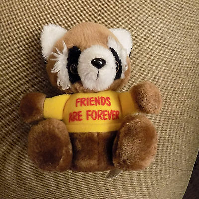 "Vtg 6.5"" RUSS LUV PET Raccoon Plush in yellow shirt w/ FRIENDS ARE FOREVER on it"