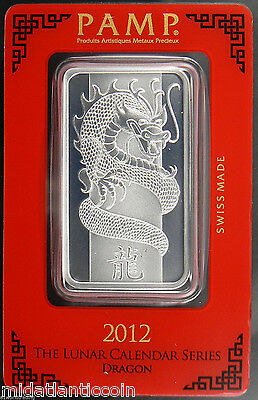 2012 Pamp Suisse Year of the Dragon  1oz Silver Art Bar in Assay.