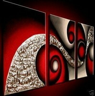 handpainted 3 piece black white red modern abstract wall art oil painting art