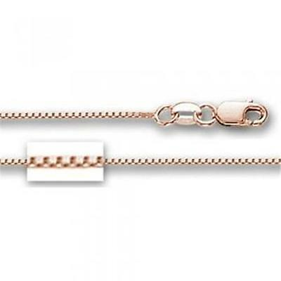 14k Rose gold over 925 Sterling Silver Box Chain 0.9mm in Different Lenghts