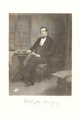 1862 Portrait Gallery WASHINGTON IRVING - Etching - 153 years old