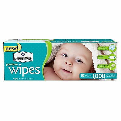 Member's Mark Premium Baby Adult Wet Wipes 10 Pks x 100 (1000 Ct) Unscented NEW!