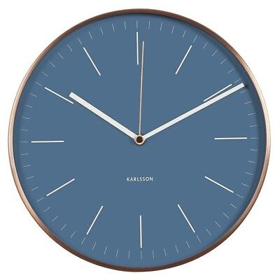 Karlsson Wall Clock Watch Blue with Copper Case Silent Sweep 27 cm