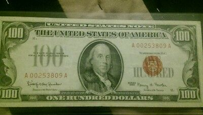 1966 $100 dollar bill red note