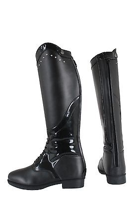 HORKA Long Leather Patent Junior Horse Riding Boot 'Donna' - Black