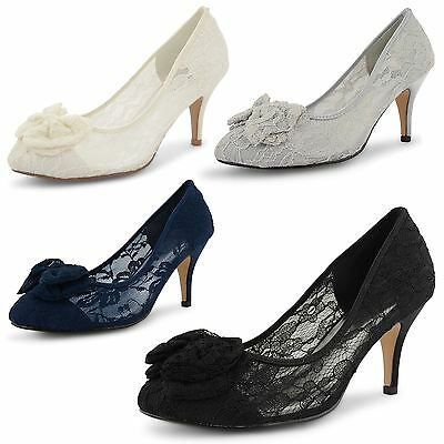 Womens Ladies Shoes Stiletto High Heel Bridal Wedding Prom Lace Girls Size UK