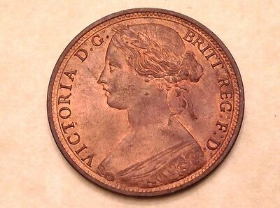 - 1863 Great Britain One Penny Bronze Victoria Choice Uncirculated