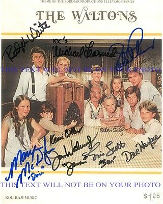 THE WALTONS CAST AUTOGRAPHED 8x10 RP PHOTO BY 10 RALPH WAITE CORBY THOMAS