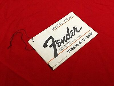 1974 Usa Fender Musicmaster Bass Guitar Hang Tag Owners Manual Case Candy 1975