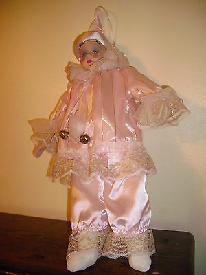 """Pink Ceramic Perriott clown, cloth body, 22""""/hat top 2 bells, White/gold lace"""