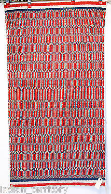 Navajo Indian Rug; Red Twill with Banded Ends c.1930-50