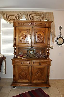 """FRENCH COUNTRY BUFFET  SIDEBOARD CHINA CABINET HAND CARVED """"HENRI II"""" c1890"""