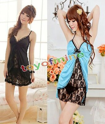 Women Lady Hot Lingerie Lace Dress Underwear Black Babydoll Sleepwear+G-string