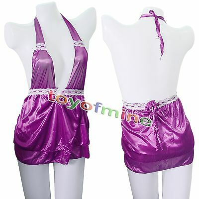 Hot Women Baby Doll Lingerie Dress  Underwear Sleepwear+G-string Purple