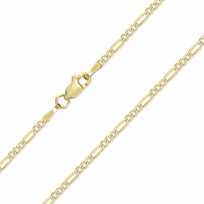 "10K SOLID YELLOW GOLD 2mm 16-24"" Figaro Diamond Cut Pave Necklace Chain Lobster"