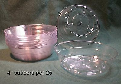"""4"""" Clear Vinyl Plastic plant saucer lot of 25 free shipping"""