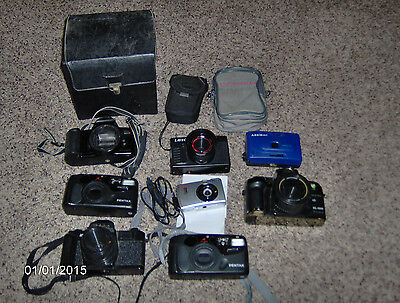LOT OF 8 VINTAGE 35mm CAMERAS: OLYMPIA LAVEC PENTAX CANON NISHIKA AREMAC - AS IS