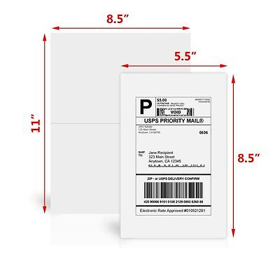 200 Half Sheet Shipping Labels 8.5x5.5 Self Adhesive For Paypal eBay USPS