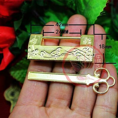 Chinese Old Style Carved Bird Flower Leaf Alloy Padlock Lock Key For Jewelry Box