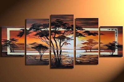 5PC Hand Painted Africa Landscape Modern Wall Decor Oil Painting On Canvas Art