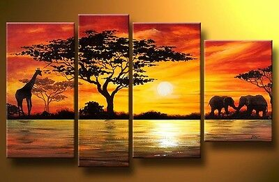 Hand Painted contemporary Canvas Wall DECOR Art Oil Paintings Africa Sunset