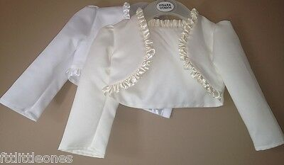 Baby Girls Satin Long Sleeved Frill Bolero,white/ivory,christening,wedding,shrug