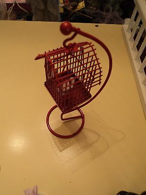 ENGLISH DOLLS HOUSE DOLL 1/12 scale metal red bird cage with stand