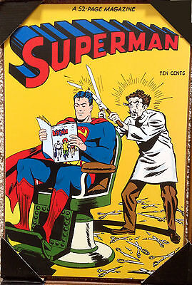 Superman Magazine DC Comics 1946 #38 Vintage Wooden Wall Art Print 13'' x 19''