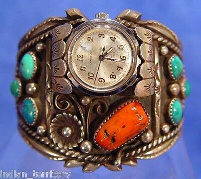 Mid 20th c Navajo Sterling Silver Cuff Watch Bracelet  c.1950 turquoise & coral