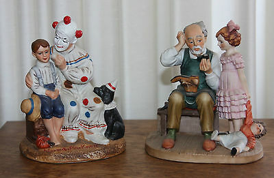 2 Norman Rockwell Figurines   The Runaway with Clown   The Shoe Cobbler